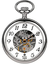 Royal London Silver Tone Mechanical Pocket Watch and Chain 90002-01