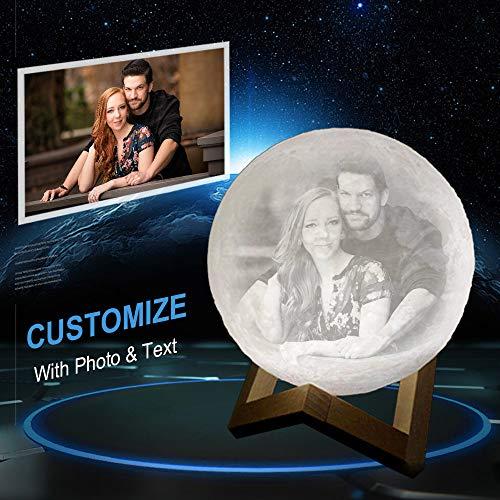 Personalisierte Mondlampe: 3D-gedrucktes, Individuelles Mondlicht-Geschenk Mit Foto Und Text, USB-Aufladung Und Touch-Steuerung