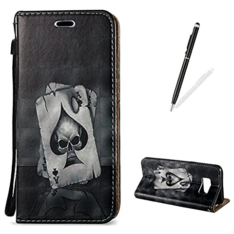 Samsung Galaxy S8 Plus Case [with Free 2 in 1 Black Touch Stylus],KaseHom Sparkle 3D Effect Decorative Pattern Premium Synthetic PU Leather Wallet Deisgn with Card Holder Slot and Wrist Strap Book Style Folio Flip Strong Magnetic Closure Smart Stand Feature Shockproof Inner Soft Rubber Bumper Perfect Fit Full Body Protective Case Cover Skin Shell for Samsung Galaxy S8 Plus-Ace of Spades