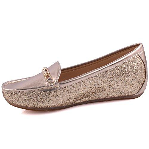 Unze Damen Damen 'Kanone' Komfortable flache Schuhe Slipper Moccasins Pumps Schuhe Größe 3-8 - MT600 Gold
