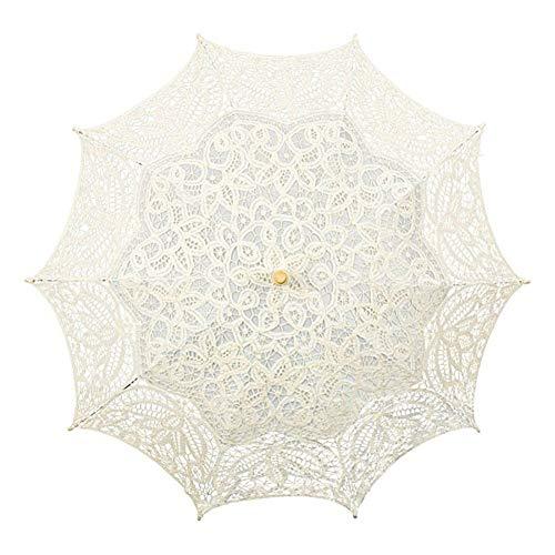 itze Sonnenschirm Prinzessin Regenschirm - Braut Elegante Sonnenschirm Hochzeitsfotografie Requisiten,Beige ()