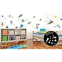Pegatinas de pared decoración espacio animales espacio naves espaciales espacio individual para niños pegatinas, planetas, luna y estrellas