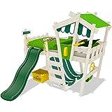 WICKEY Kinderbett mit Rutsche CrAzY Hutty Hochbett mit Dach Abenteuerbett mit Lattenboden, apfelgrün-grün + grüne Rutsche + weiße Farbe