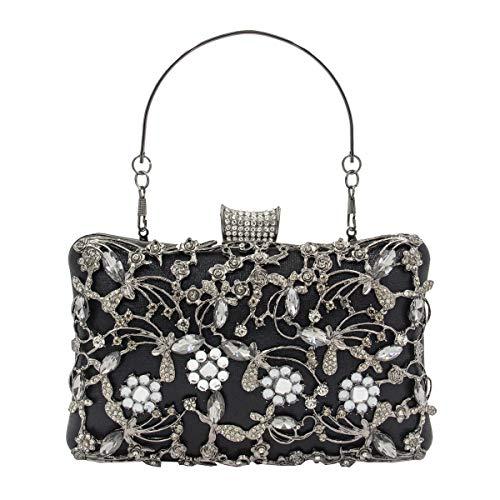 Nosterappou decorazione di moda con portafoglio in strass, borsa da trasporto piccola da donna, pochette (colore : nero)