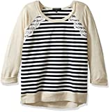 My Michelle Girls' Big Girls' Long Sleeve Lace Chevron Top with Solid Raglan Sleeves and Crochet Lace Applique, Oat, XL