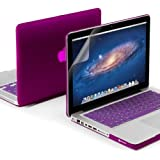 GMYLE(R) 3 in 1 Deep Purple Matte Rubber Coated Hard Case for Macbook Pro 13 inch - Silicon Keyboard Cover (US Layout) - Screen Protector - (not fit for 13 Macbook Pro with Retina display)