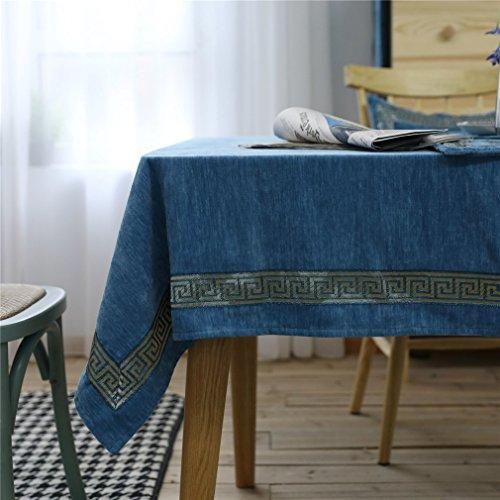 Miruike Bleu Nappe Fibre de polyester de table à thé Coque pour jardin Maison Décorer, bleu, 51×87 Inch(130*220CM)