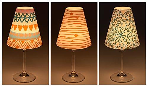 """Candle Lights / Lampenschirme für Weingläser / Deko-Lampenschirme / Lampe / Teelicht / Lampshades / Lampenschirm-Set """"Tabea"""" Tischdeko, 3-teilig (Blaue Glas-stehleuchte)"""