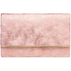 CASPAR TA381 Bolso de Mano Fiesta para Mujer/Clutch Elegante con Cadena Larga, Color:rosa;Tamaño: Talla Única