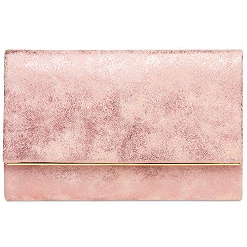 CASPAR TA381 Bolso de Mano Fiesta para Mujer/Clutch Elegante con Cadena Larga, Color:rosa;Tamaño:...