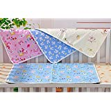 Fareto Nappy Changing Mat Water Proof Bed Protector with Foam Cushioned for Newborn Baby, 0-6 Months (Multicolour) - Pack of 4