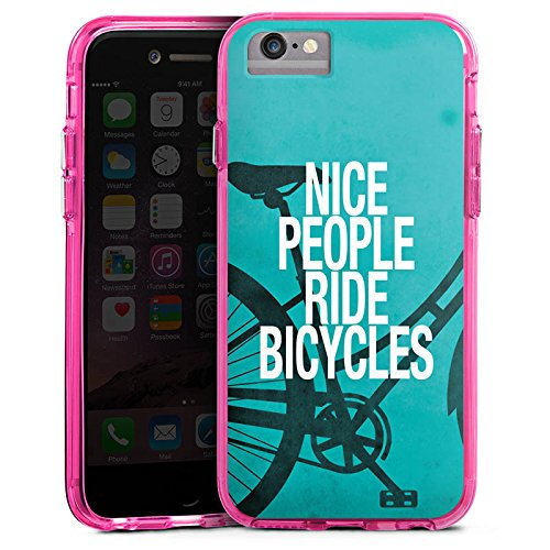 Apple iPhone 7 Bumper Hülle Bumper Case Glitzer Hülle Fahrrad Sprüche Sayings Bumper Case transparent pink