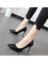 Xue Qiqi Escarpins Embout Beige chaussures unique satin épais avec sangles élégantes chaussures à talons hauts et polyvalent, femmes chaussures, noir, 37