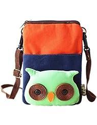 Cartoon Canvas Phone Bag Version coréenne de Lovely Girl Mini sac en tissu Orange Owl