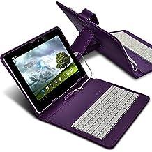 "ONX3 Acer Aspire Switch 10 E (SW3-013) 10.1"" (Púrpura) Ultra-Delgado Ajustable Funda Caja Tableta Teclado QWERTY Para la Tableta Android con Micro Conexión USB"