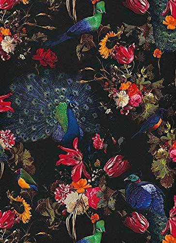 Erismann Pfau Blumenmuster Semi Vinyl Exotisch Vögel Aussage Natur Tapete 6371-15 - Exotische Vinyl