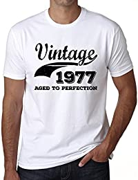 Vintage Aged to Perfection 1977, tshirt homme anniversaire, homme anniversaire tshirt, millésime vieilli à la perfection tshirt homme, cadeau homme t shirt