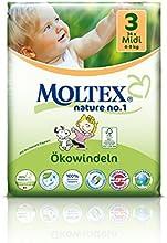 136 pcs MOLTEX Nature No1 diseño de Snoopy funda de almohada de pañales MIDI GR 3 (4-9 kg) 4 x 34 pcs