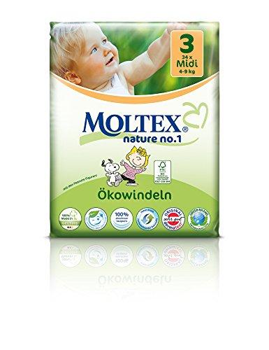Preisvergleich Produktbild 136 St. MOLTEX Nature No1 Peanuts Ökowindeln Babywindeln MIDI Gr 3 (4-9 kg) 4x 34 Stück