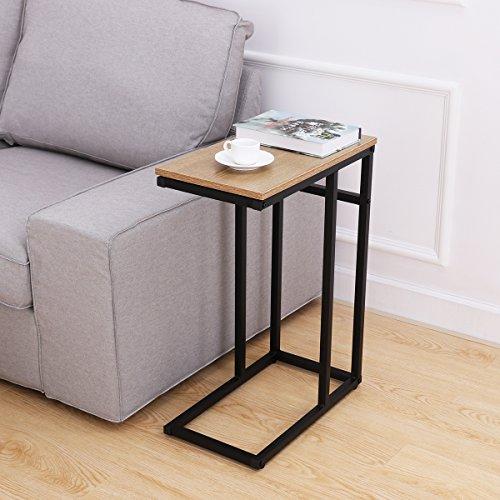 Homemaxs Sofa Beistelltisch Couch Beistelltisch C Tisch in Holzoptik aus Stahl für Kaffee, Snacks, Tablet