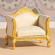 Dolls House 4402 Poltrona Louis Stile XV Oro & Crema 1:12 per casa delle bambole