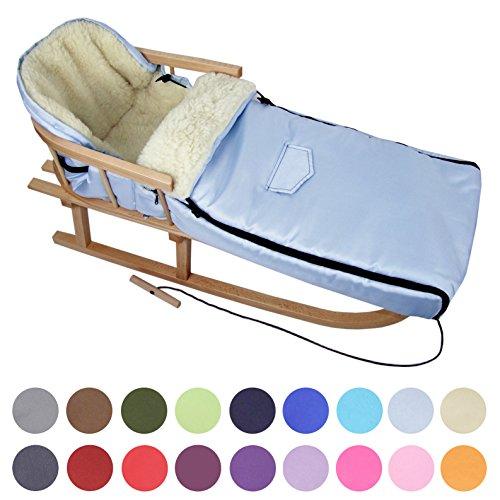 BAMBINIWELT Kombi-Angebot Holz-Schlitten mit Rückenlehne & Zugseil + universaler Winterfußsack (108cm), auch geeignet für Babyschale, Kinderwagen, Buggy, aus Wolle Uni (hellblau)