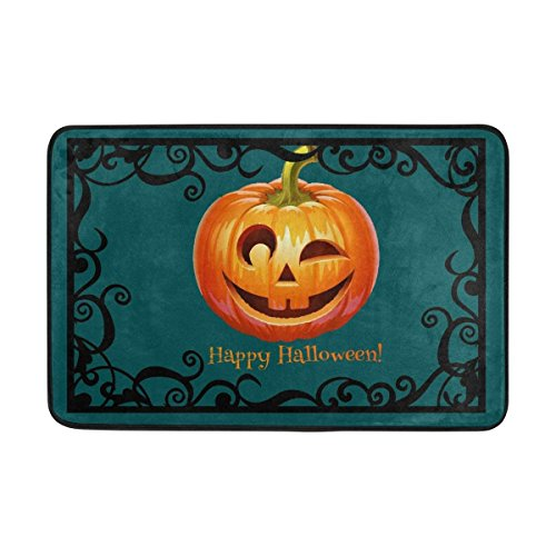 CDQPWEISAL Entrance Doormat Pumpkin Happy Halloween Floor Mat Non-Slip Doormat 23.6 by 15.7 Inch Machine Washable Polyester Fabric