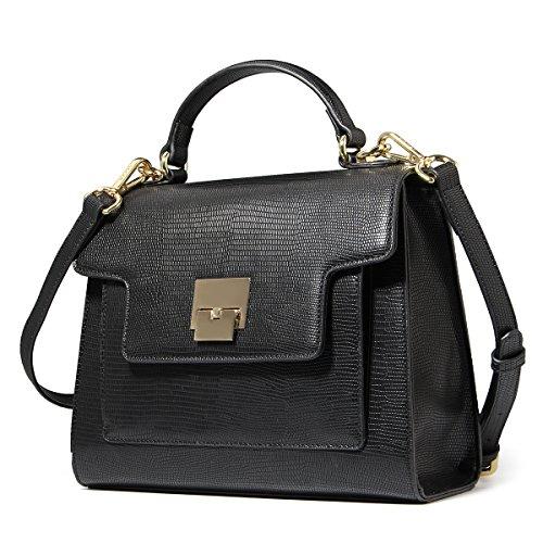 53cd1c7fb0f91 Kadell Frauen Leder Handtaschen Vintage Tote Geldbörse Schultertasche  Satchel für Damen Klappe Tasche Schwarz Schwarz