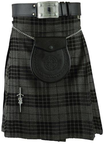 Kilt da Uomo Grigio Scozzese tradizionale Highland Dress Skirt Grey 38W