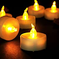 Youngerbaby 24pcs Led Tea Lights Timer Battery Operated Candles, Flicker Flameless Electric Candles Frosted Led Tealight, Tea Light Candles with Timer -6 Hrs on and 18 Hrs Off for Wedding Party (24, Yellow)