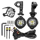 LED Motorrad Zusatzscheinwerfer Nebelscheinwerfer mit Schutzgitter und Kabelsatz ,LITTOU Wasserdicht 40W 3000LM 6000K.