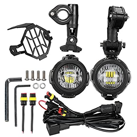 LITTOU LED Auxiliary Lamp Motorcycle Fog Driving Light Kits with