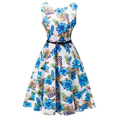 SRANDER Vintage Kleid, 50s Retro Kleid Ärmellos Rockabilly Schwingen Cocktailkleider Prom Dress 8006S