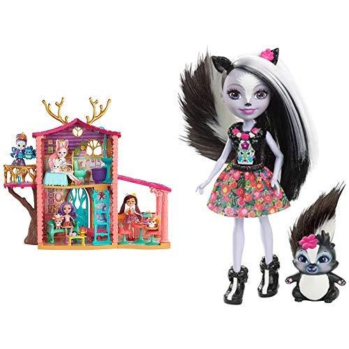 Enchantimals FRH50 - Rehmädchen Spielhaus mit Danessa Deer-Puppe und Tierfreund Sprint, Puppen Spielset und Puppenhaus, Mädchen Spielzeug ab 4 Jahren &  Mattel DYC75 - Stinktiermädchen Sage Skunk,