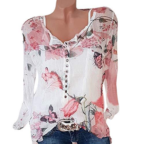 TWIFER 2019 Chiffon Sommer Shirt Damen beiläufige Blumen Druckknopf T Shirt Chiffon unregelmäßige Rand Spitzenbluse (3 Bands Hochzeit Sets Für Die Frau)
