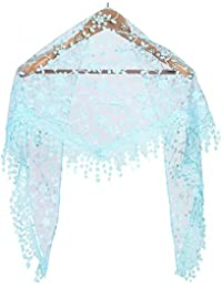 Wuiyepo Mode Tassel Lace Sheer imprimé floral Triangle Mantilla écharpe