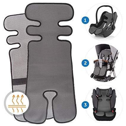 Copriseduta passeggino universale, traspirante per seggiolino auto, anti-sudore assorbente anti-macchia cuscinetto materassino per ovetto neonato allacciatura bloccaggio 79 cm x 34 cm grigio scuro