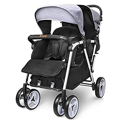 Besrey el transporte de niños hermanos cochecito doble cochecito sillas de paseo para 2 niños de 6 meses a 3 años de edad - con toldo y la función de cubierta plegable