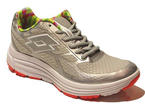 Lotto Fox Ride Amf W, Chaussures de Running Entrainement Femme Argenté / Blanc (Slv Mt / Wht)