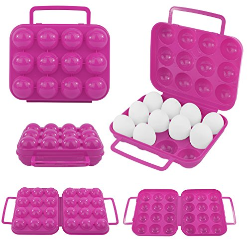 Eierbox 12 Eier Transportbox Box Eierschachtel Aufbewahrungsbox Ei Dose Camping pink rosa