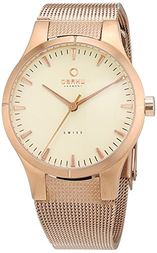 Obaku V100LVIMV-S - Reloj de pulsera Mujer, Cuero, color dorado