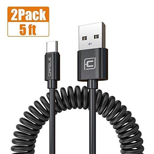 USB Typ C Kabel, Spiralkabel Aufrollbar Ladekabel Auto Ladegerät 1.6M Datenkabel für Galaxy S8 Plus / Note 8, Neuer MacBook, Google Pixel / Pixel XL, Huawei P9 / P10, LG G6, Nexus 5X-2Pack (Schwarz )