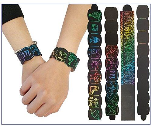 Libetui Set 12 Kratzbild-Armbänder für Kinder Armbänder zum selbst Basteln und Gestalten ideal als Mitbringsel Geschenk Kinderpary