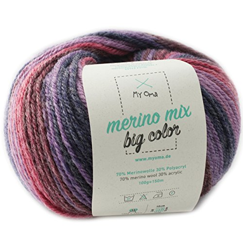 MyOma Merinowolle bunt * 1 Knäuel Merino Mix Big Color Emotion (Fb 5002) * Farbverlaufsgarn 100g/150 m + GRATIS Label - Garn mit Farbverlauf Nadelstärke 6-7 mm - Wolle Farbverlauf lila -