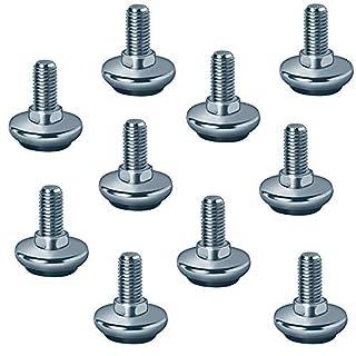 Gedotec Regulierschrauben M10 x 20 mm Verstellschrauben für Möbel-Füße & Tisch-Beine | Höhen-Verstellschraube für schwere Lasten | Stahl verzinkt | Tragkraft 500 kg | 10 Stück - Stellfüße verstellbar