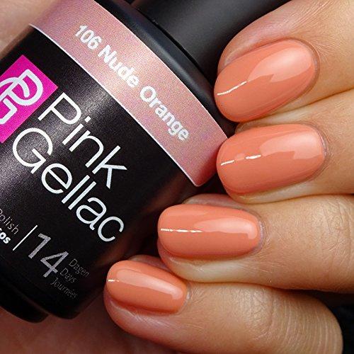 Vernis à ongles Pink Gellac 106 Nude Orange. 15 ml gel Manucure et Nail Art pour UV LED lampe, top coat résistant shellac