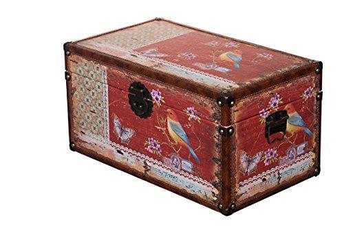 Sarah B Truhe Kiste KD 1515 Deko Truhe Vogel Holztruhe mit Leder bezogen im Vintage Look, Schatzkiste,Kiste, Piratenkiste, Kleinmöbel, Mit Metallbeschlägen, Antikoptik, Holz,