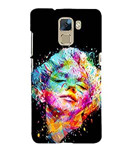 printtech Multicolored Beautiful Girl Face Back Case Cover for Huawei Honor 7