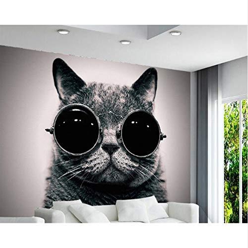 Tapete Europäischen Tragen Sonnenbrille Katze Niedlich Spielen Coole Kinderzimmer Hintergrund Wand 3D Wallpaper 350X256Cm
