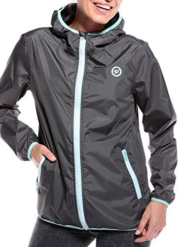 WOLDO Athletic Regenjacke Damen wasserdicht atmungsaktiv (L, grey)